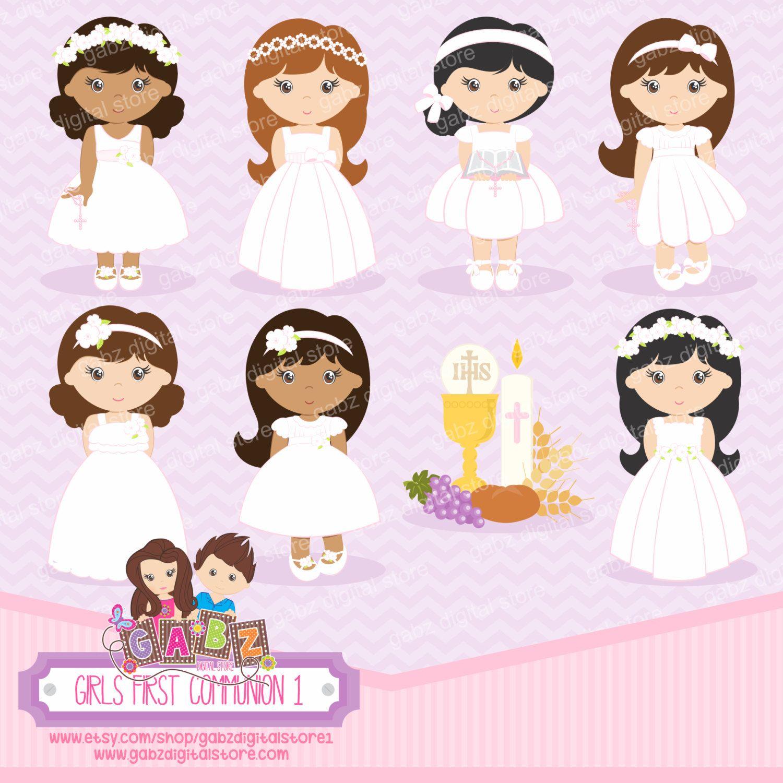 Girls First munion 1 Girls munion Clipart GabzDigitalStore1