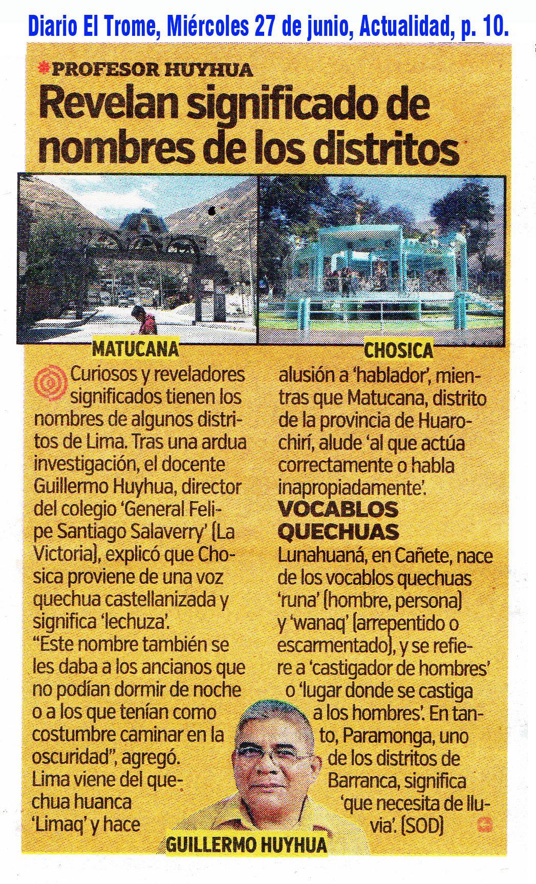 Apellidos Peruanos En El Diario El Trome Lima Perú Ciudades
