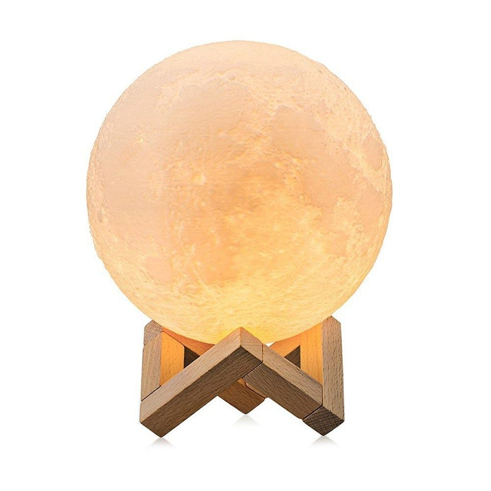 Large Moon Lamp Lighting Night Led 3d Printing Square Base 3 Color Desk Moon Lamp Dimmable Moon Night Light With Stand Touch Control Brightness Boughtagain In 2020 Moon Light Lamp