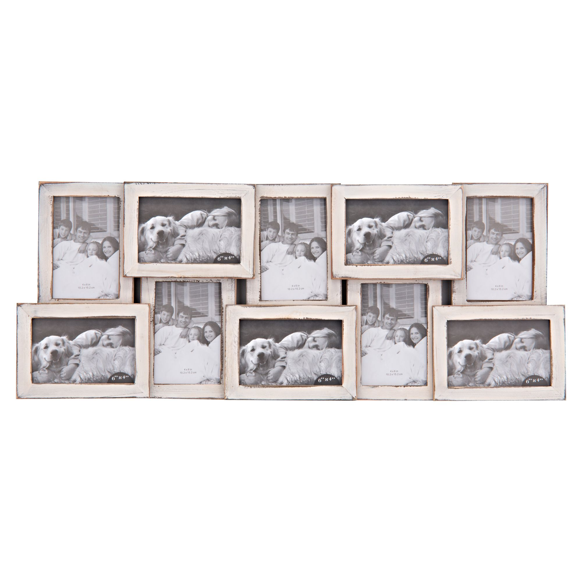 10 Opening Distressed Collage Frame, White, 4\