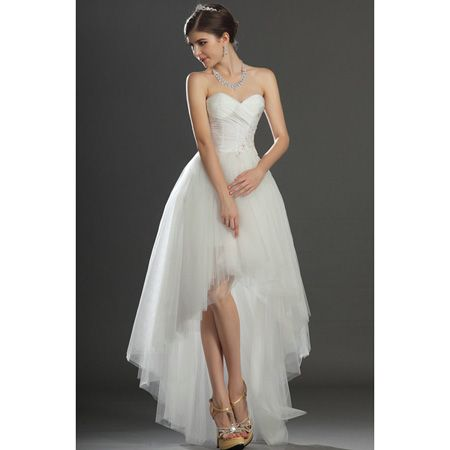 Modern Ivory Strapless Sweetheart Tulle High Low Wedding Dresses With Ruched