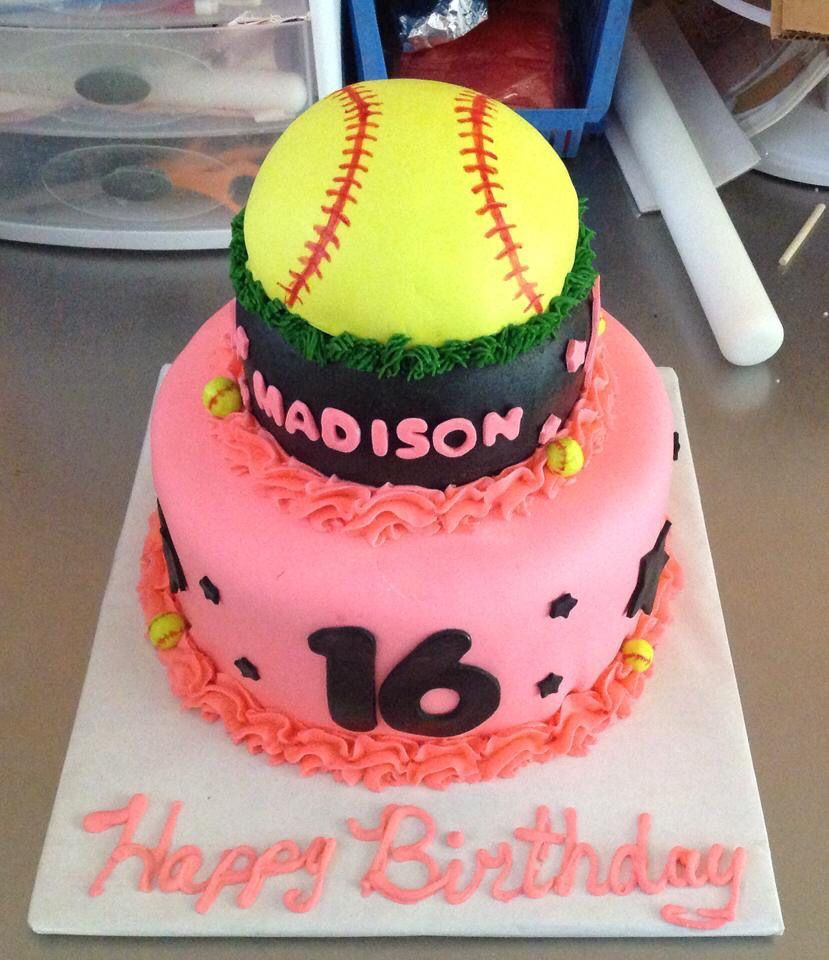 Softball Themed Sweet 16 Cake #sweet16cakes Softball Themed Sweet 16 Cake #sweet16cakes