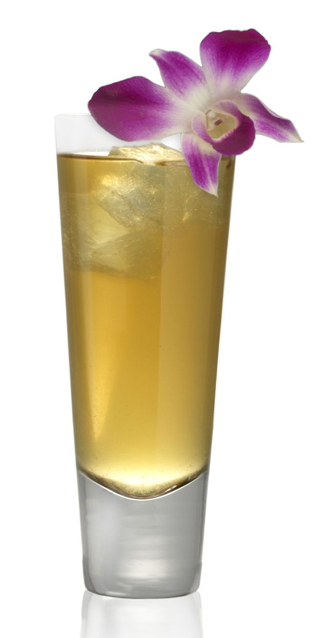 Cocktail recipe for The Lei Maker, a mixed drink of Korbel California Brandy, ginger liqueur, pineapple juice, and Sprite.