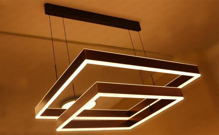 Square Led Chandeliers Direct Indirect Lighting Pendant Lights Modern