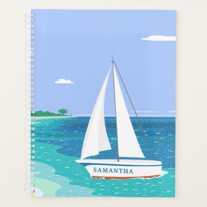 Monogram Sailboat Ocean Seaview 8.5x11 Planner - monogram gifts unique design style monogrammed diy cyo customize