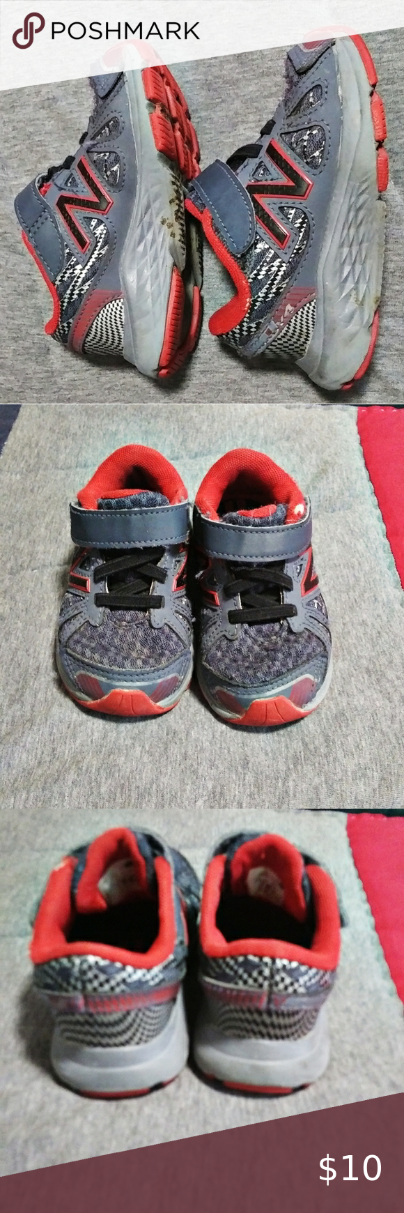 New Balance Red and Gray Baby Sneakers