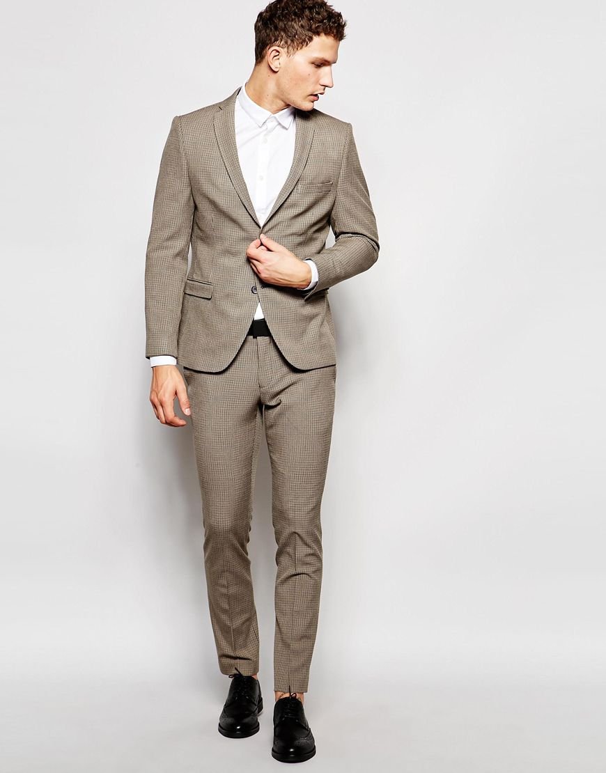 Image 1 of Selected Homme Stretch Light Brown Wedding Skinny ...