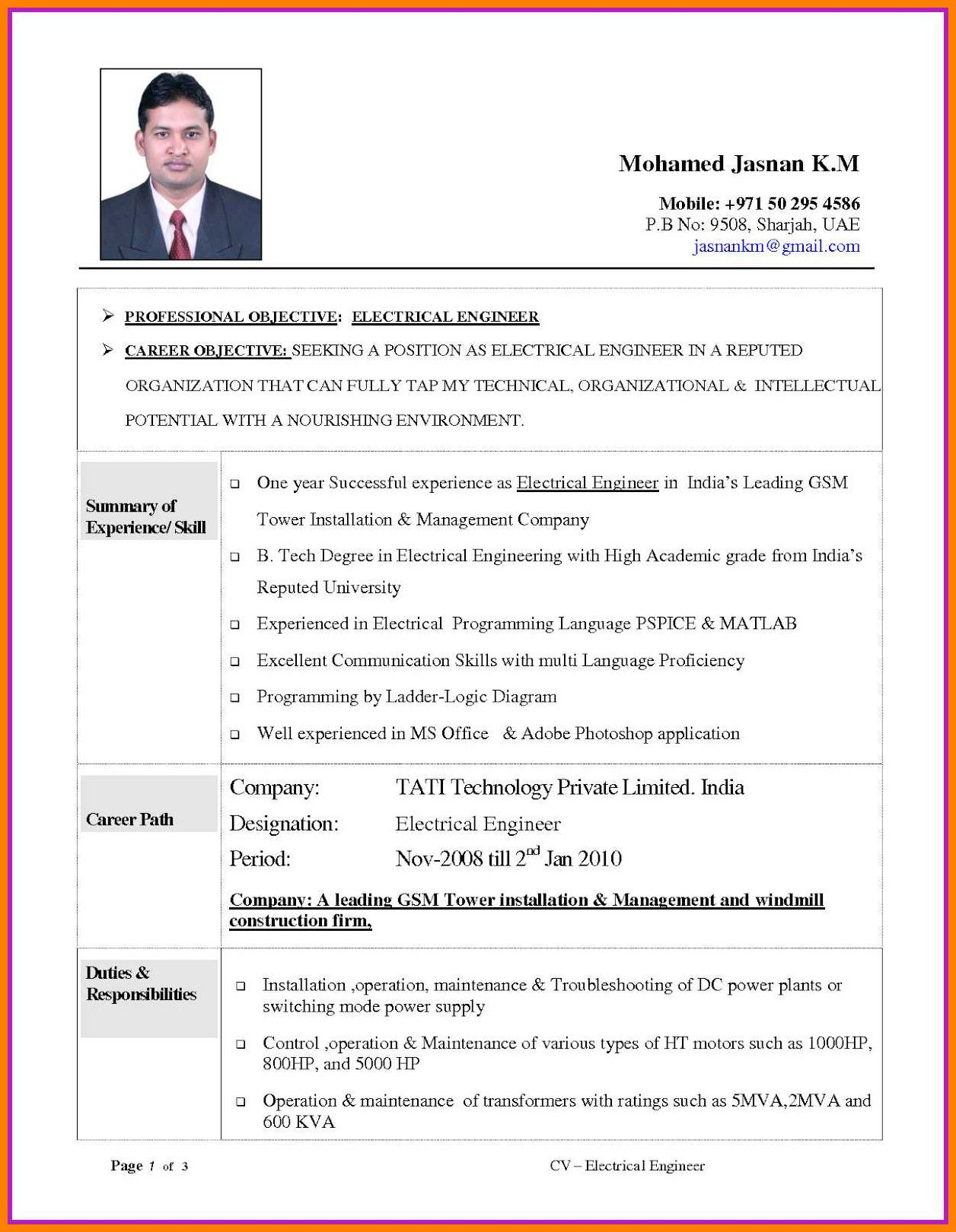 Makegevu Frisch Electrical Engineering Resume Examples Electrical