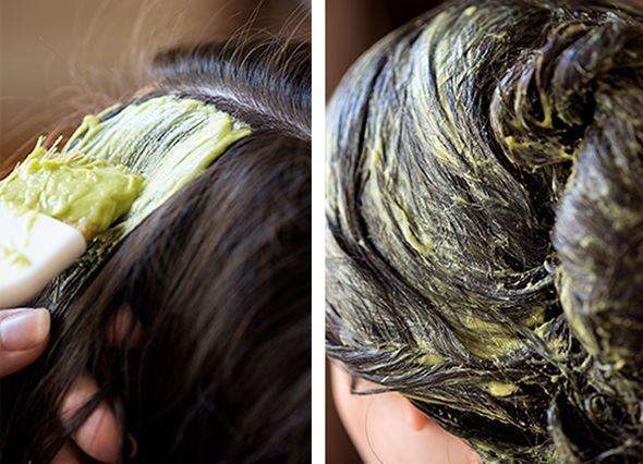 Masque cheveux romarin avocat coco. 1 avocat, 1/4 de tasse d'huile de coco, 20 à 40 gouttes d'huiles essentiel de romarin.