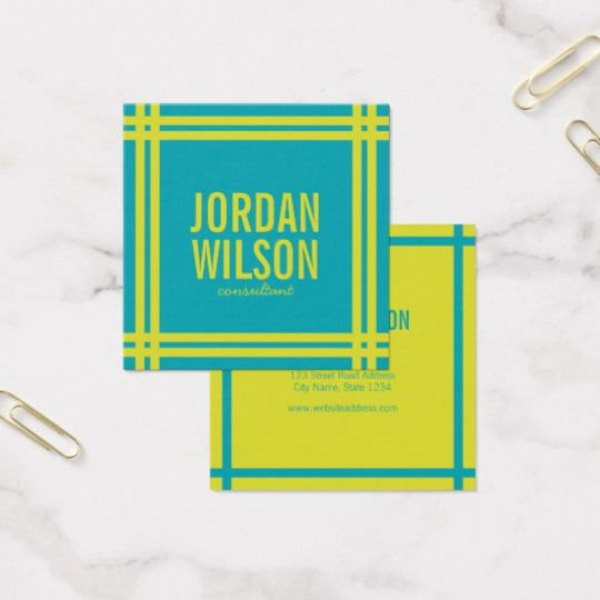 Modern bold border vibrant blue and green square business card modern bold border vibrant blue and green square business card reheart Gallery