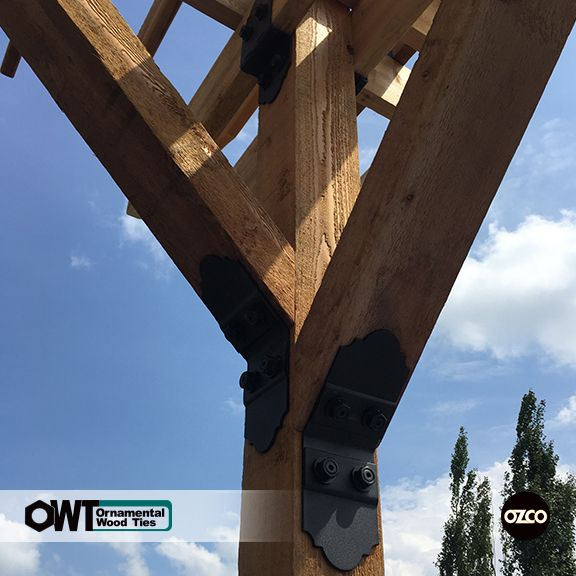 Pergola – Post Bracing using 45 degree ties Ornamental Wood Ties