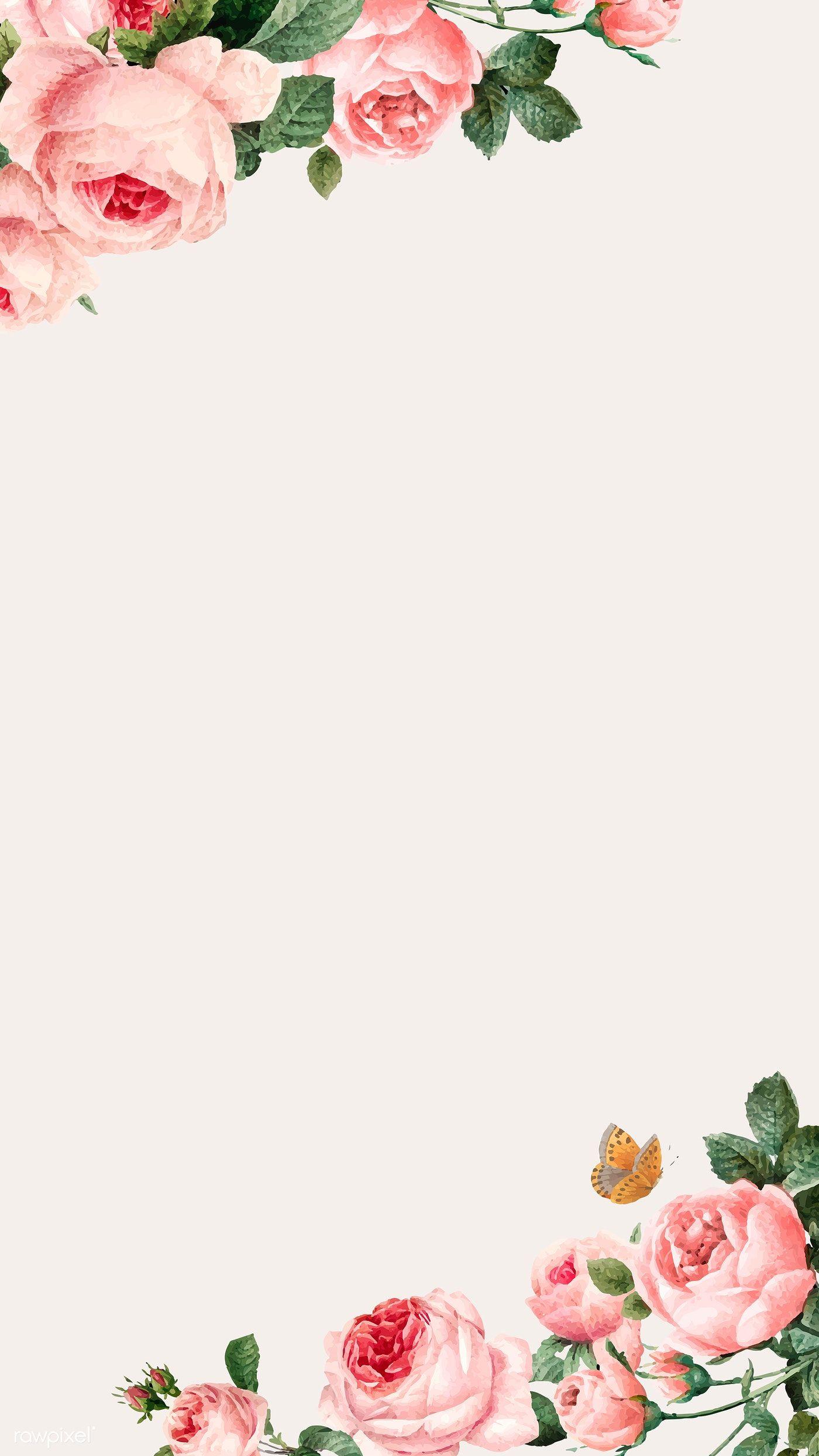 Download Premium Vector Of Hand Drawn Pink Roses Frame On Beige Background Rose Frame Floral Border Design Flower Background Wallpaper