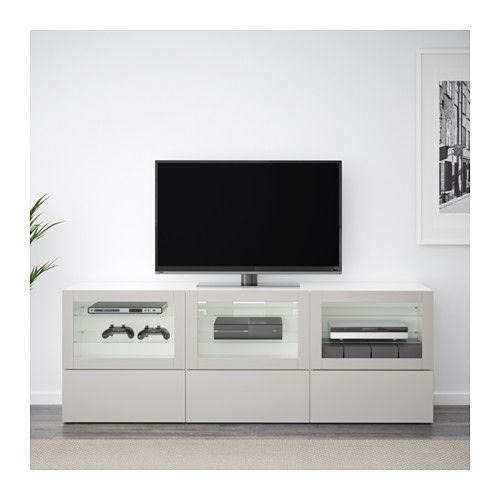 best m vel de tv c portas e gavetas branco lappviken cinz clr vidro transparente pinterest. Black Bedroom Furniture Sets. Home Design Ideas