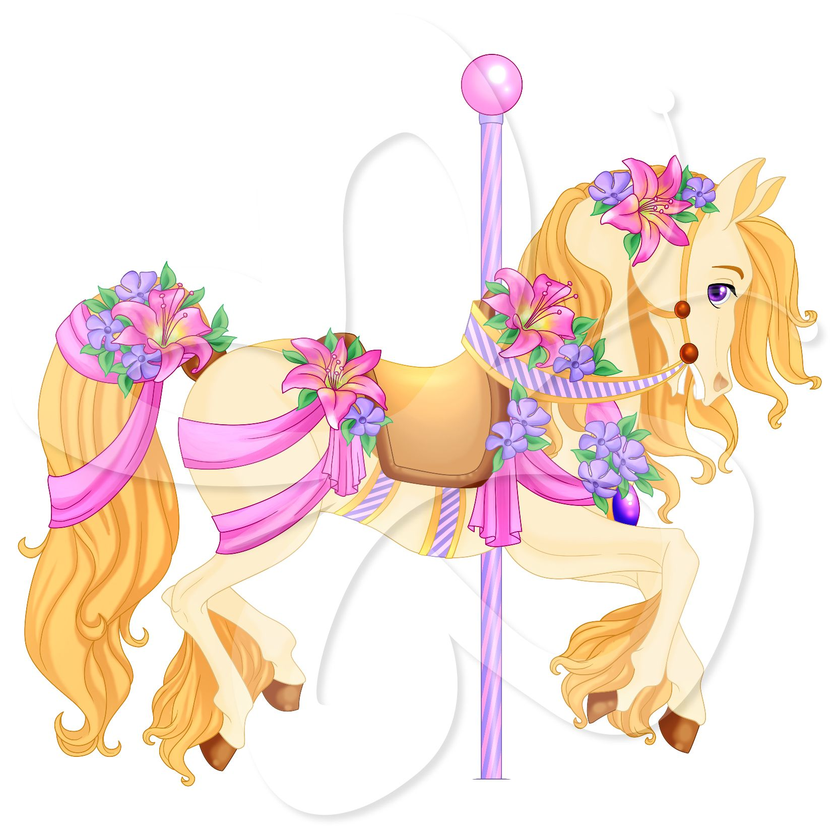 hight resolution of carousel horse clip art