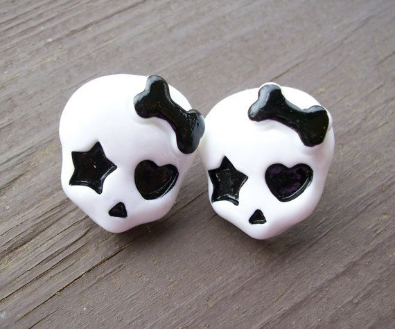 Cute skull Monster High inspired post earrings by JinxyJewels, $3.50