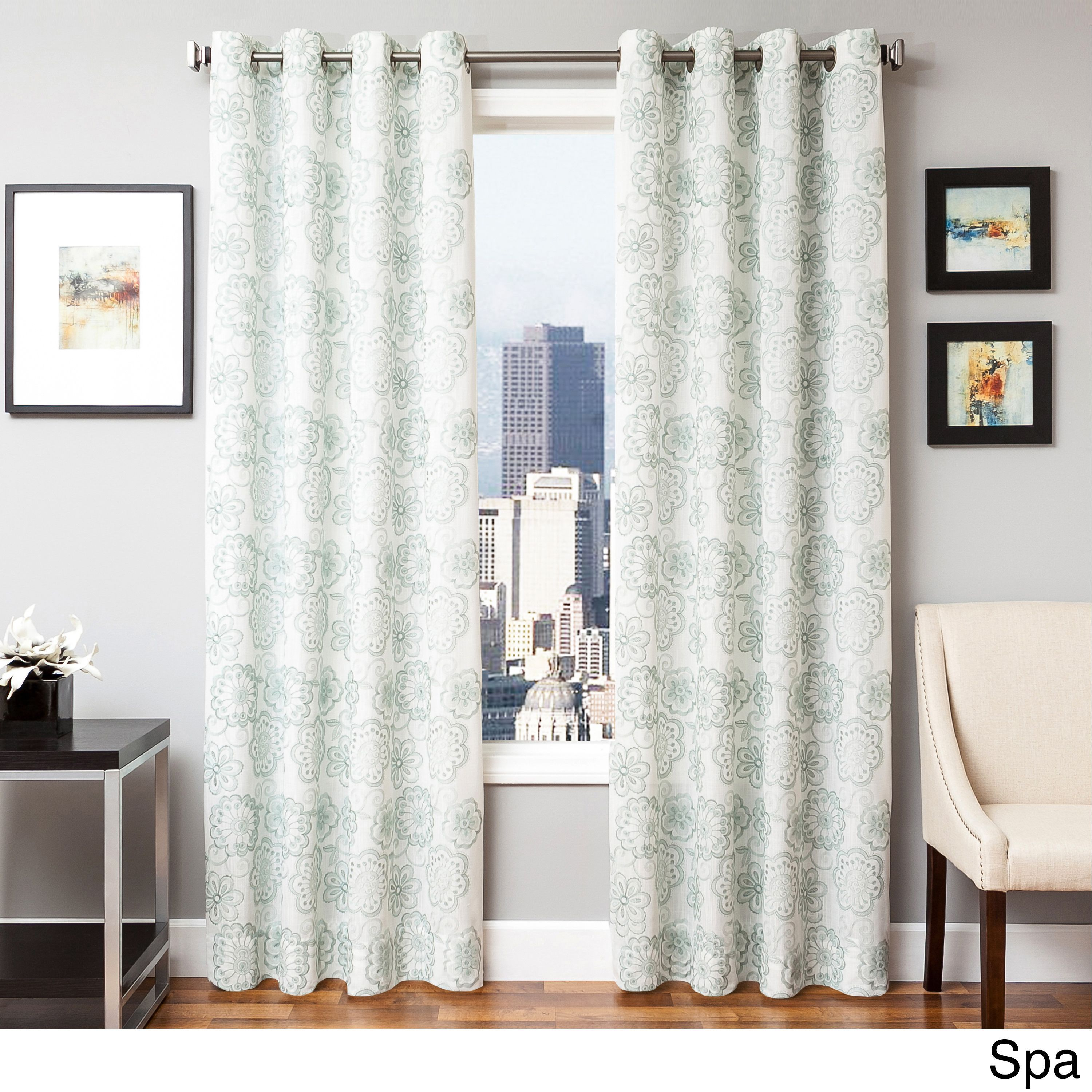Softline Essex Embroidered Curtain Panel (SPA GTM 96), Blue, Size 55 x 96 (Polyester, Floral)