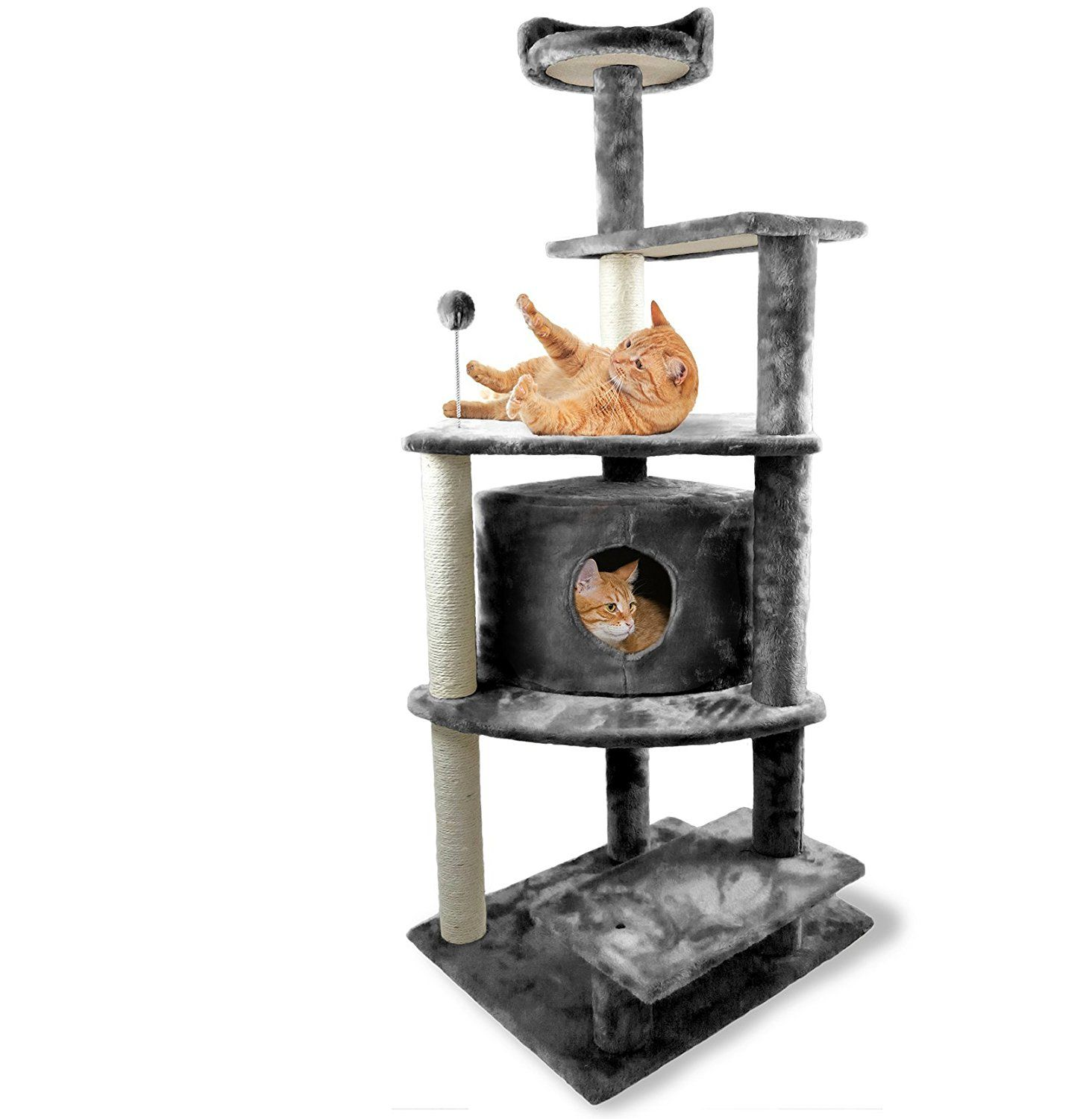 Furhaven Tiger Tough Cat Tree House Furniture For Cats And Kittens Platform House Playground Gray Cat Tree House Cat Tree Condo Cat Furniture