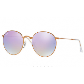 48ae2521e36 Ray Ban RB3532 Round Metal Folding sunglasses – Bronze-Copper Frame   Lilac  Gradient Flash Lens