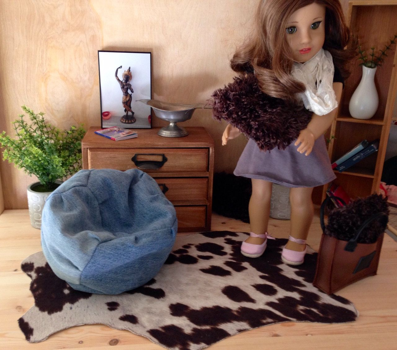 "Faux Fur ""hide"" rug with  cow print for 18"" dolls. Trendy style for your American Girl doll or other 18"" dolls room. Realistic and soft! by DandLDollBoutique on Etsy"