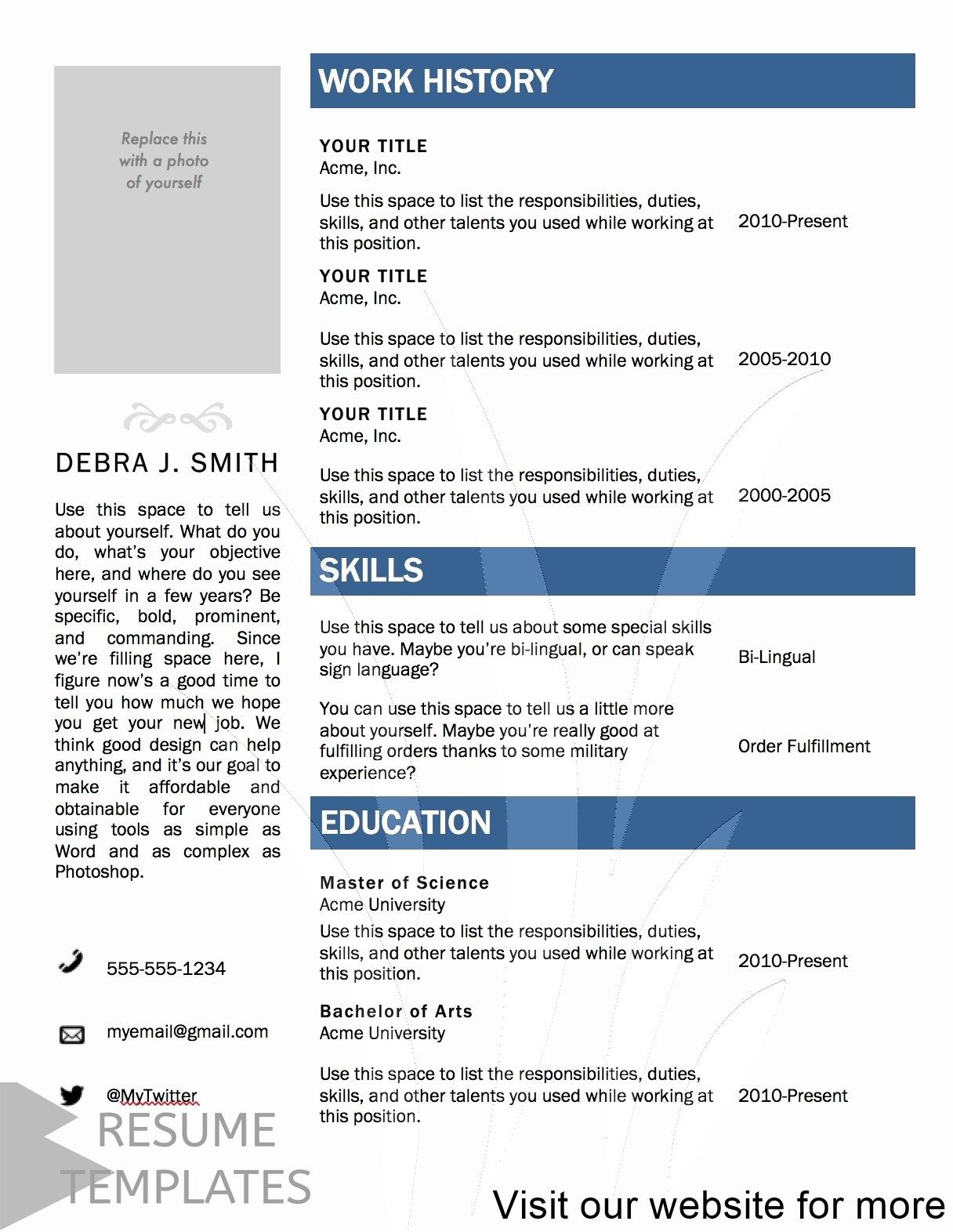 resume template free psd in 2020 Resume template free