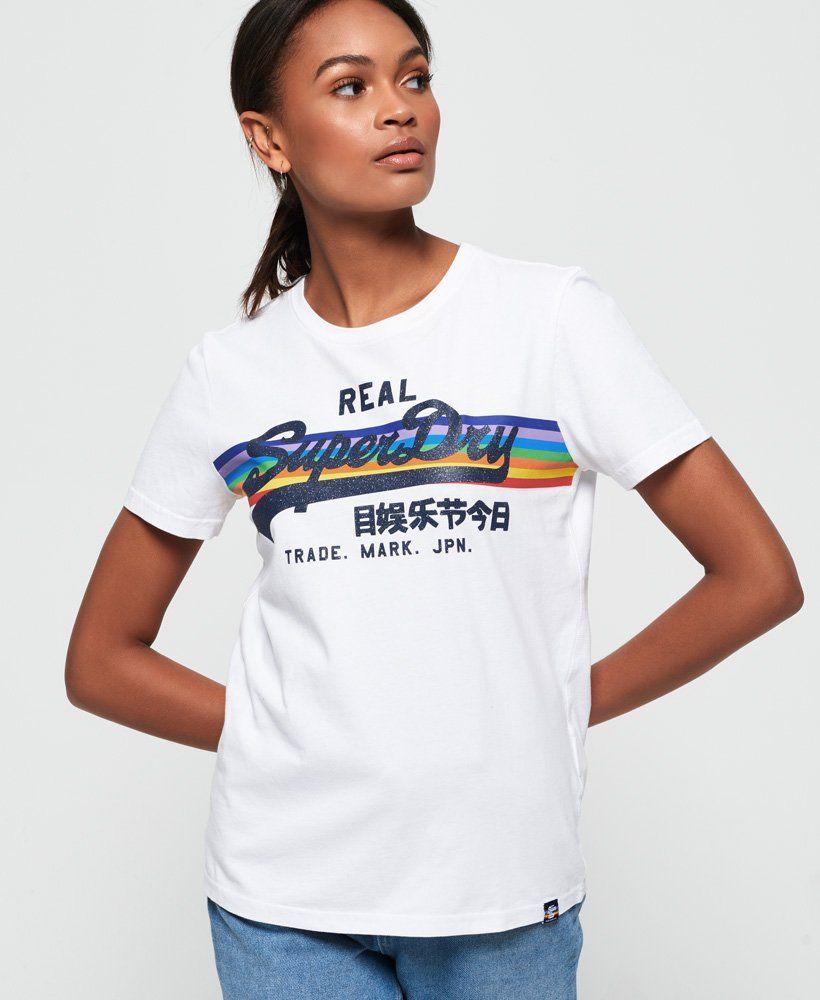 Womens Vintage Logo Retro Rainbow T Shirt In Optic Superdry Vintage Logo Retro Logos Designer Outfits Woman