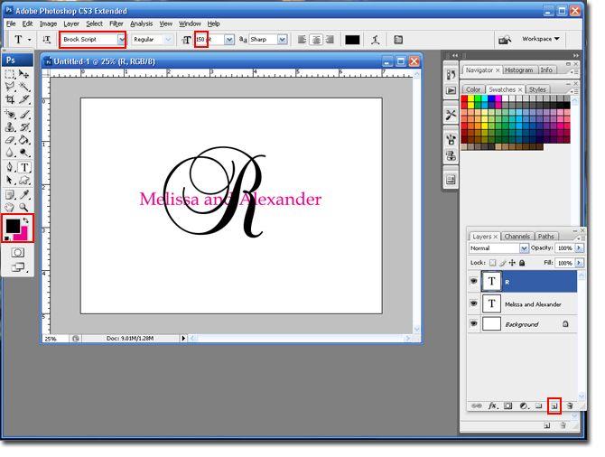 Letter Behind Monogram Tutorial in photoshop