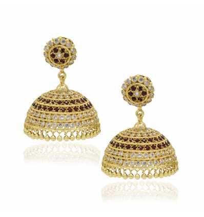 849490082df63 Alluring One Gram Gold big bridal Jhumka jimikki earrings studded ...