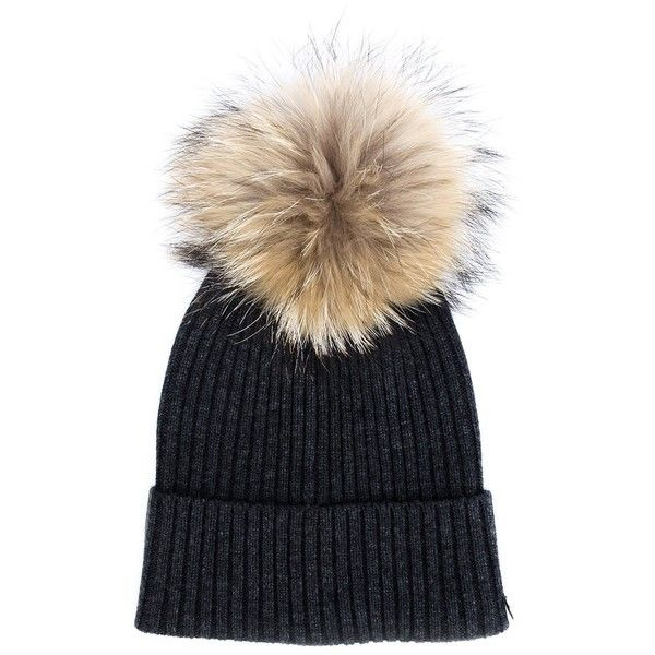 96382ea949b79b Yves Salomon Pom Pom Beanie ($180) ❤ liked on Polyvore featuring accessories,  hats, black, beanie cap, fur beanie, yves salomon, fur pom pom beanie and  ...