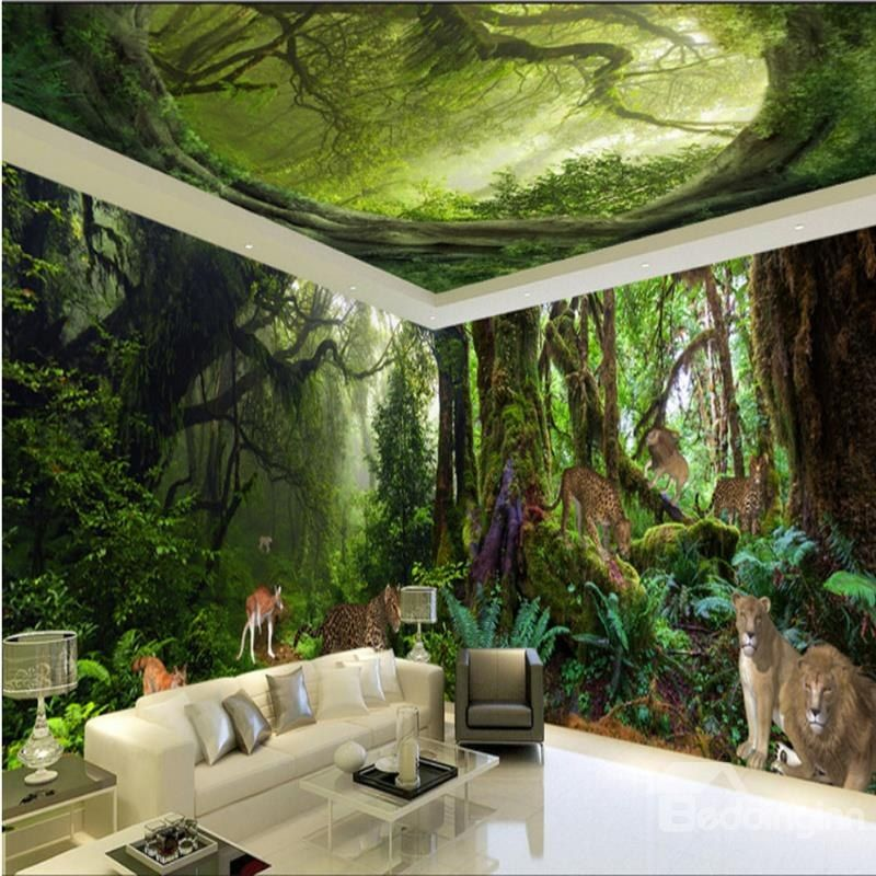 Vivid Animal In The Forest Scenery Pattern Design Combined 3d Ceiling And Wall Murals 3d Wall Painting Wall Murals Large Wall Murals