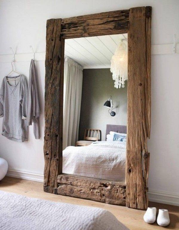 espejo estupendo con marco de madera grande decoraci