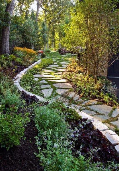 Top 60 Best Stone Walkway Ideas - Hardscape Path D
