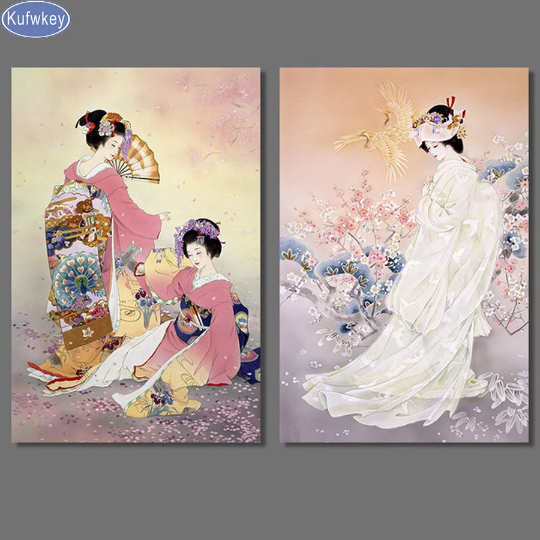 Set of 2 Large Chinese Girl  Woman Diamond Painting kit Set of 2 DIY painting