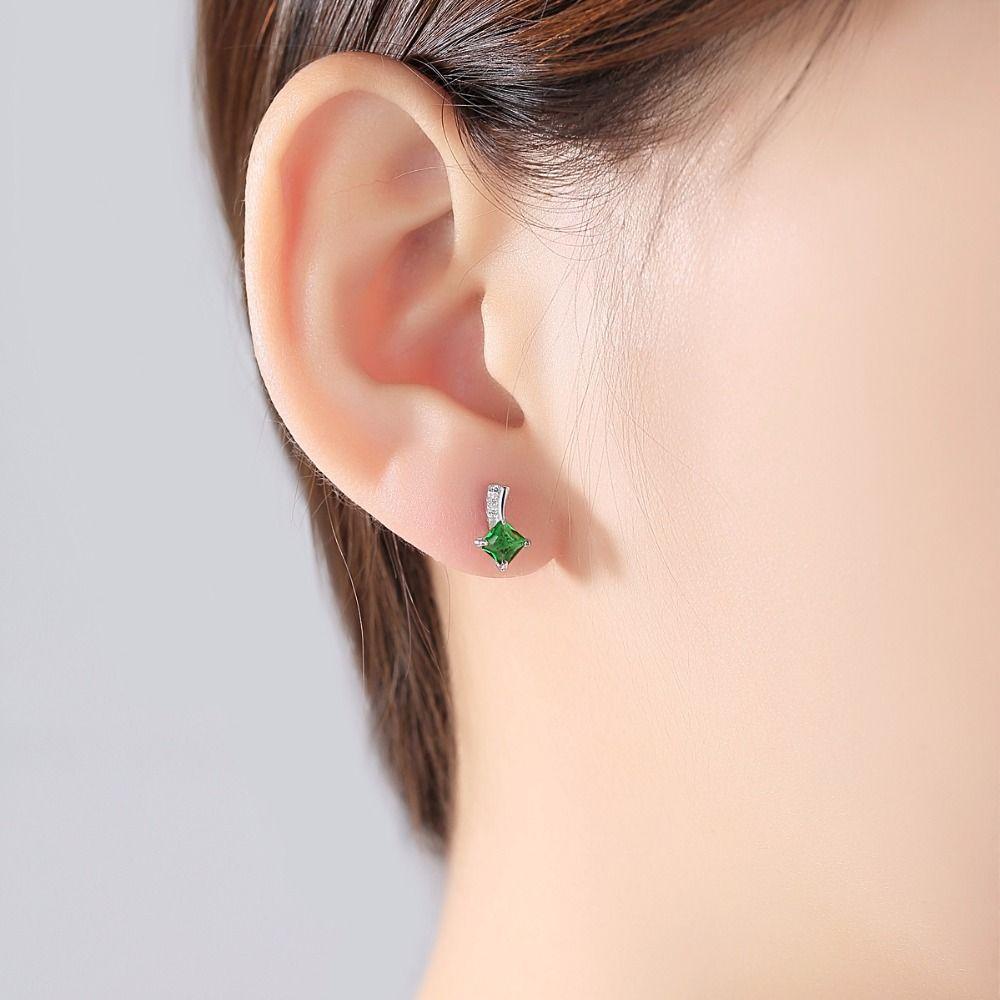 Argent Sterling Pierre Turquoise /& Zircone cubique Dangle Earrings