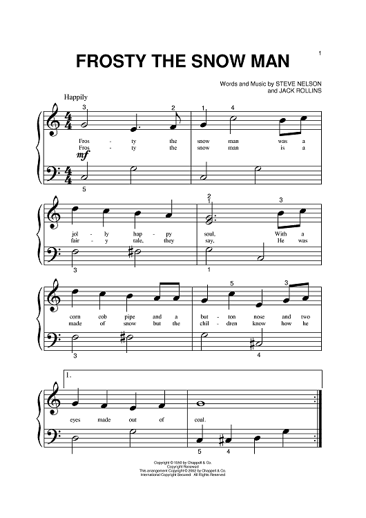 frosty the snowman piano sheet music google search. Black Bedroom Furniture Sets. Home Design Ideas