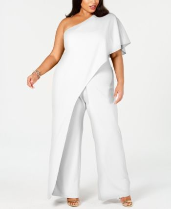 6d1b83942d924f Adrianna Papell Plus Size Draped One-Shoulder Jumpsuit - Ivory/Cream 14W