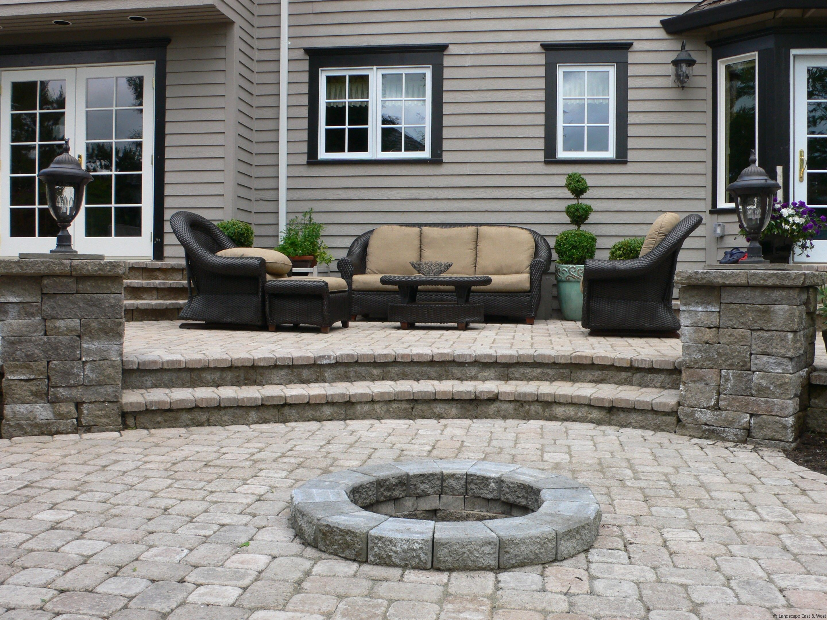 Modern Brow Floor Tile Hardscape Patios Design Backyard That Can .
