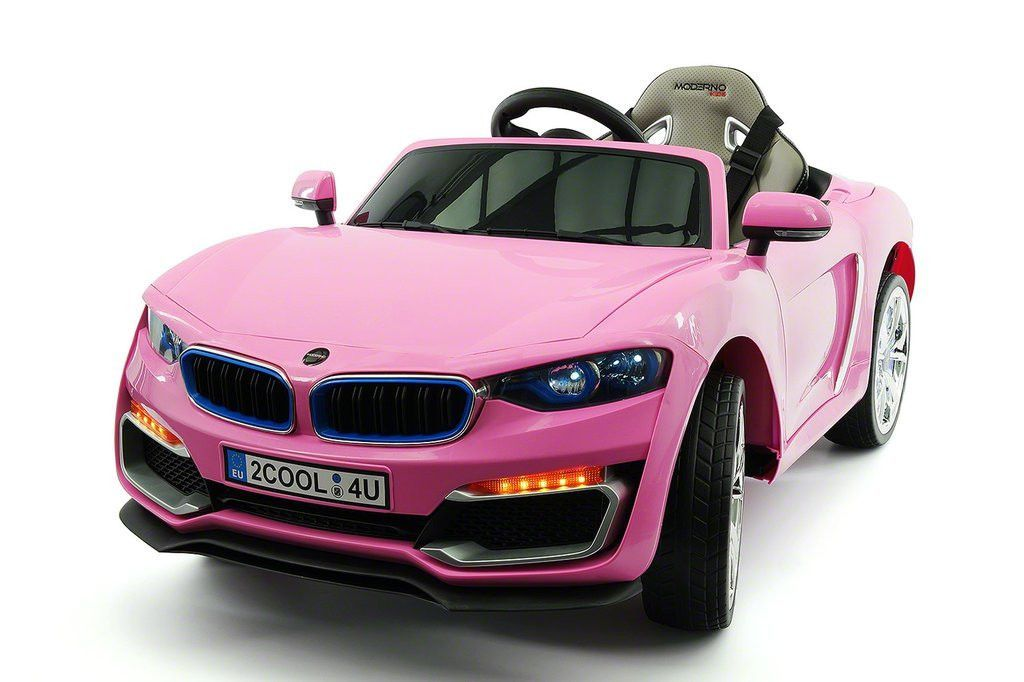 bmw racer style kids 12v ride on car with parental remote pink