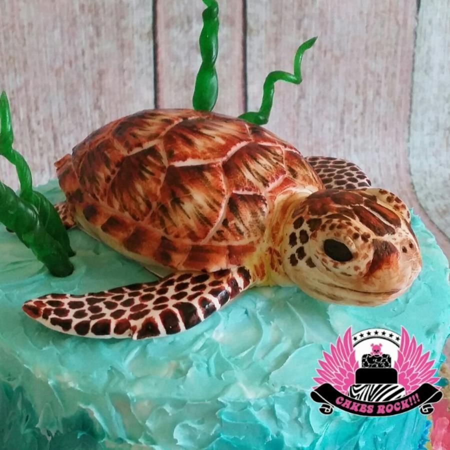 Sea Turtle Birthday Cake Cake By Cakes Rock Ocean Buttercream
