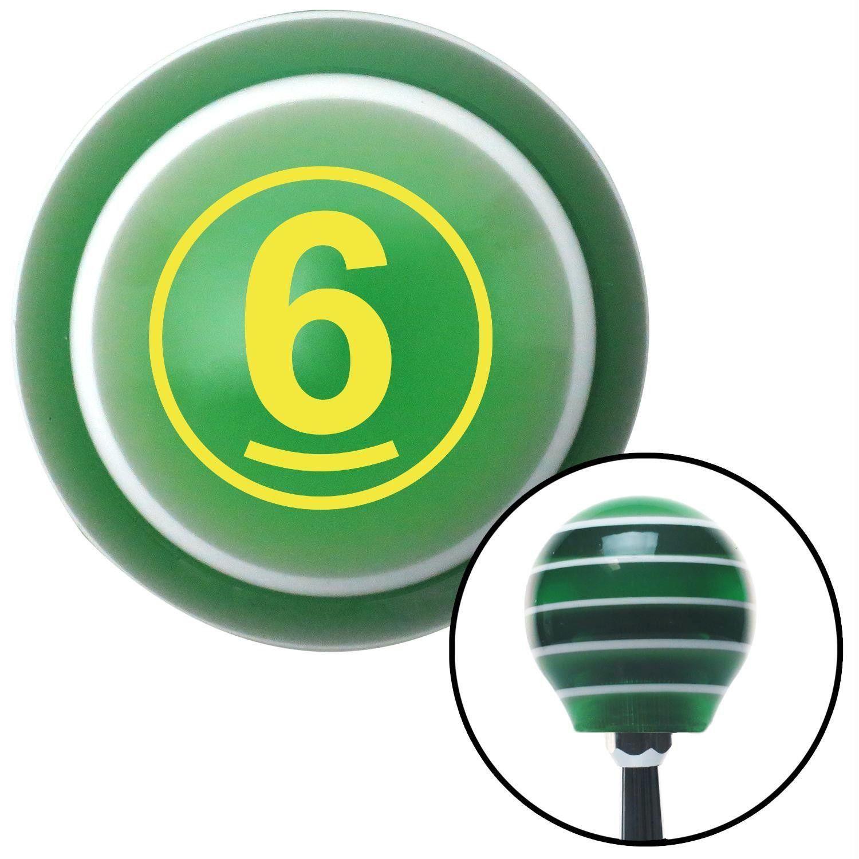Yellow Ball 6 Green Stripe Shift Knob with M16 x 15 Insert