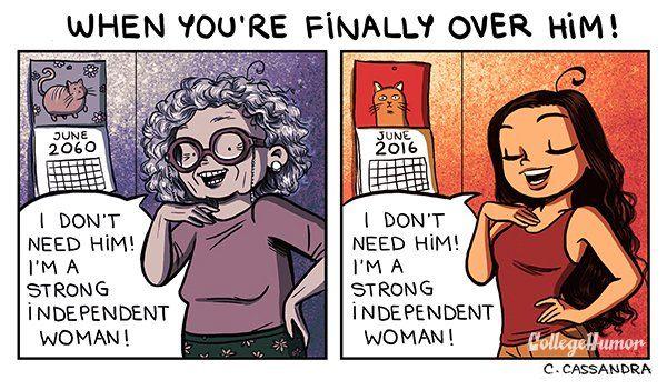 Cartoon images of relationship breakup
