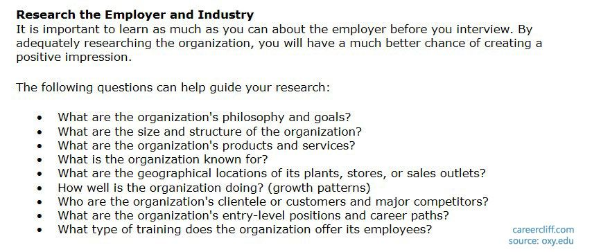 how to Research the Employer and Industry