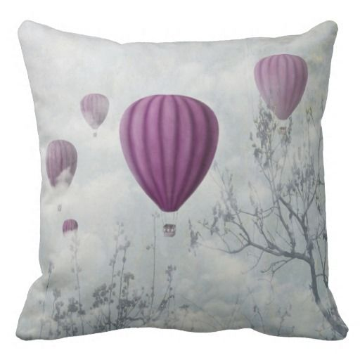 Hot air balloons and the clouds throw pillow