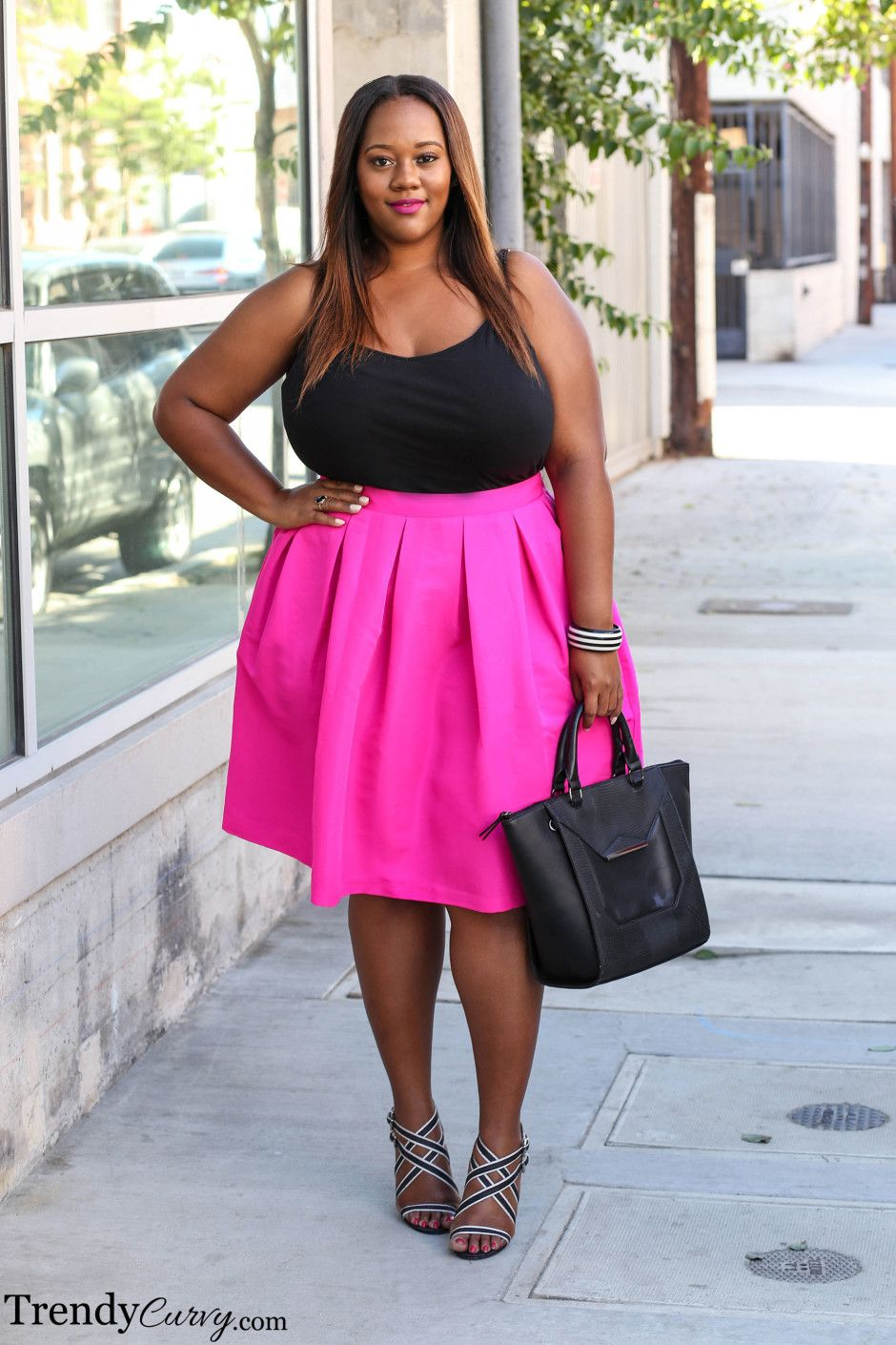 CURVY BEAUTIES // Plus Size Fashion pink skirt | My fashionista ...