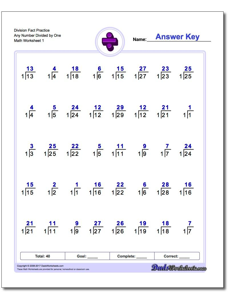These division worksheets start with basic timed math fact drills in ...