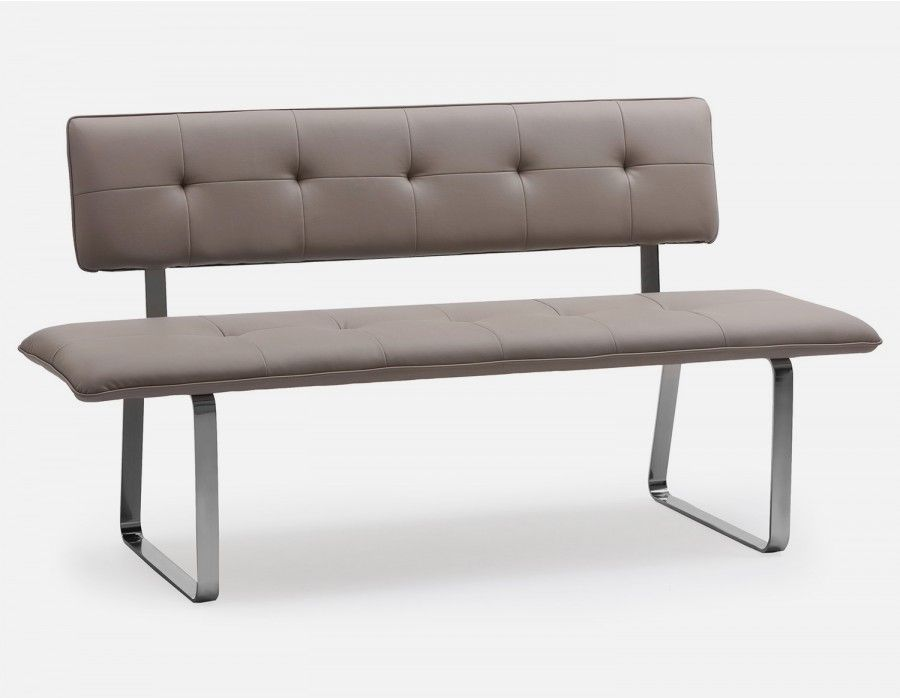 Lucas Bench With Backrest Taupe With Images Dining Room