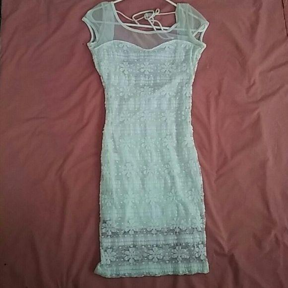 Sheer Overlay Dress Never Worn, sheer overlay white dress, backless halter Forever 21 Dresses Backless