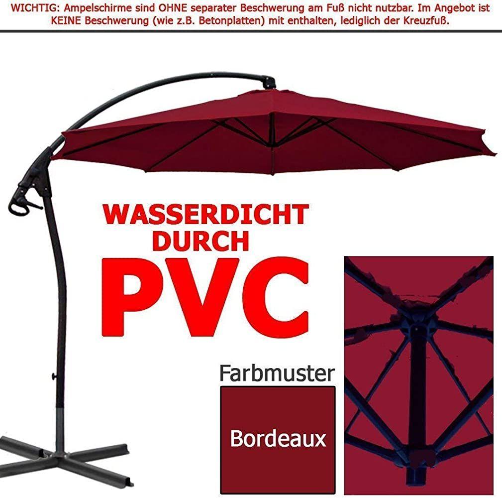 Habeig Wasserdicht Ampelschirm 3m Bordeaux Rot Durch Pvc Schirm