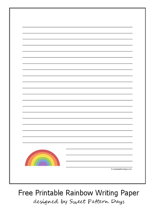 Rainbow Writing Paper Printable