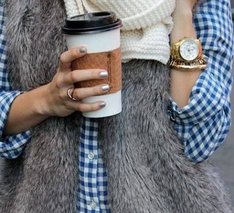 how to wear gingham: blue dressed for winter w/ jeans + cozy faux-fur vest and knit scarf