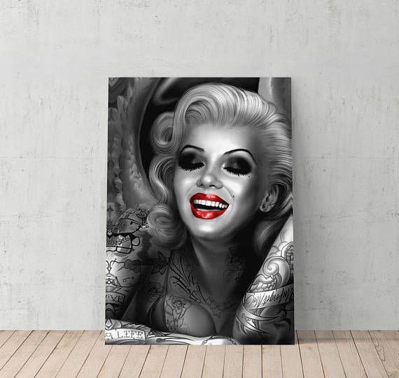 Marilyn Monroe Tattoo Red Lips Canvas Print Home Decorative